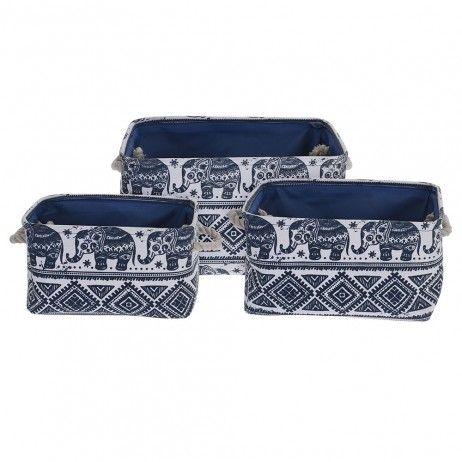Set 3 Cestos Saski Tecido Azules