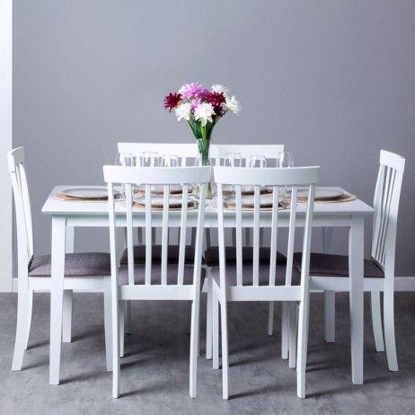 Conjunto Mesa Yuka 140 x 80 cm y Pack 6 Cadeiras Kayu
