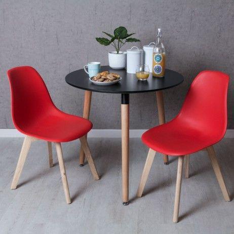 Conjunto Mesa Tower Redonda 80 cm Preta e Pack 2 Cadeiras Kelen - Conjuntos