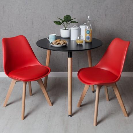 Conjunto Mesa Tower Redonda 80 cm Preta e Pack 2 Cadeiras...