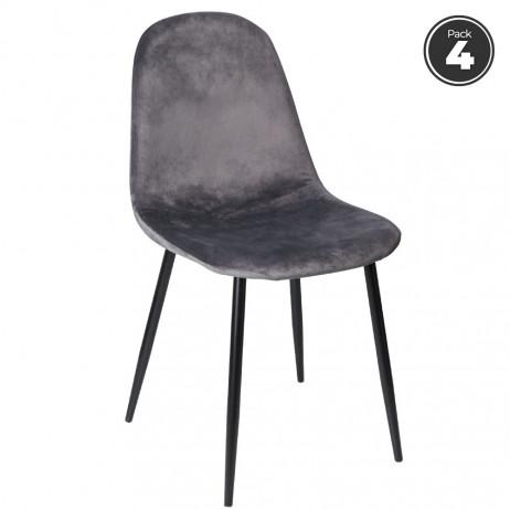 Pack 4 Cadeiras Teok Black Veludo - Packs Cadeiras Sala Jantar