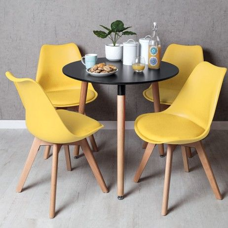 Conjunto Mesa Tower Redonda 80 cm Preta e Pack 4 Cadeiras...