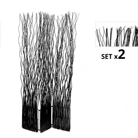 Set de 2 Biombos Separadores Kim 3 Folhas Pretos