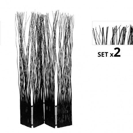 Set de 2 Biombos Separadores Kim 4 Folhas Pretos