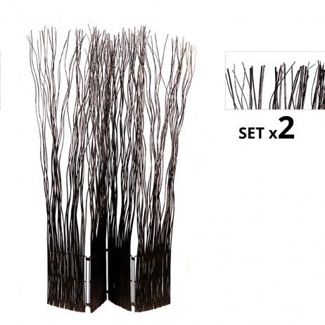 Set de 2 Biombos Separadores Kim 4 Folhas Marrons - Biombos