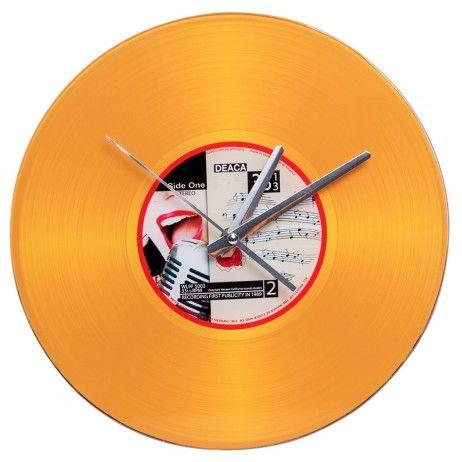 Reloj de Pared Vinilo Oro 30 cm