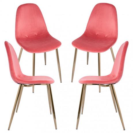 Pack 4 Cadeiras Teok Velvet Buttons Pernas Douradas - Packs Cadeiras Sala Jantar