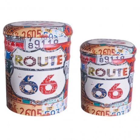 Set 2 Pufs Almacenaje Route 66