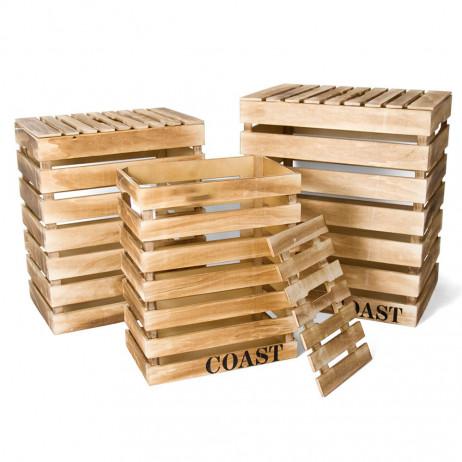 Conjunto de 3 Caixas de Madeira Coast