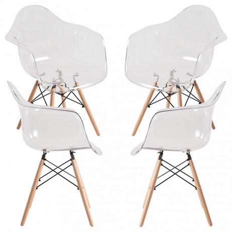 Pack 4 Cadeiras Dau Transparente