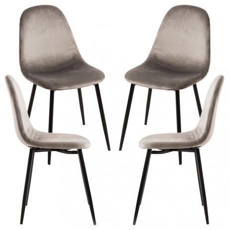 Pack 4 Cadeiras Teok Black Veludo