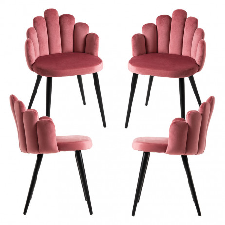 Pack 4 Cadeiras Hand Veludo Patas Pretas - 6