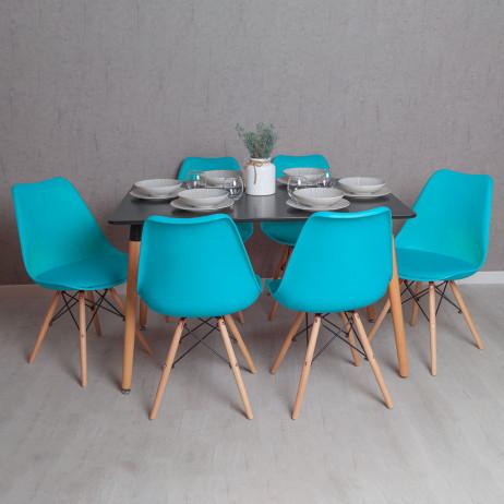 Conjunto Mesa Tower Retangular 120 x 80 cm Preta e Pack 6 Cadeiras Tilsen - Conjuntos