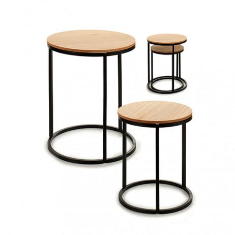 Conjunto de 2 mesas redondas de metal...