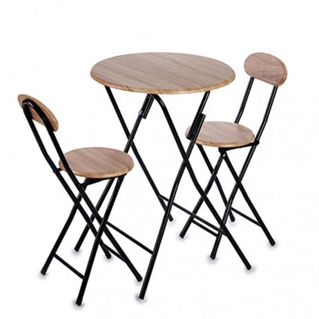 Conjunto de mesa 2 cadeiras de madeira