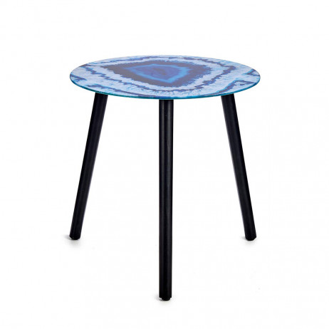 Mesa de cristal de efeito mármore Azul