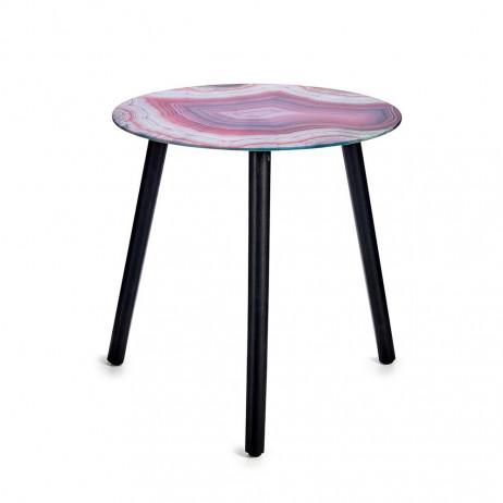 Mesa de cristal de efeito mármore Rosa