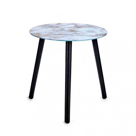 Mesa de cristal de efeito mármore...