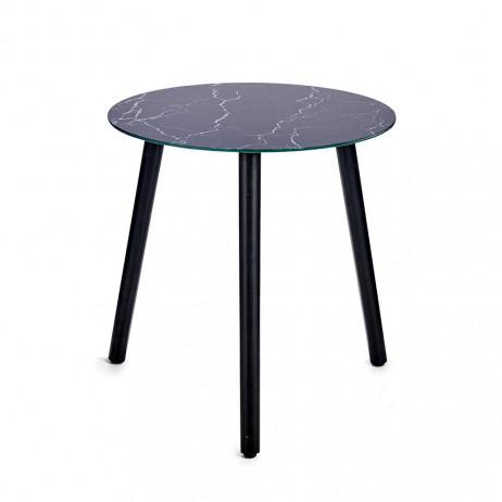 Mesa de cristal de efeito mármore Preto