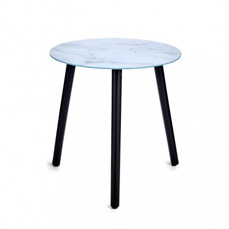 Mesa de cristal de efeito mármore Branco