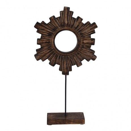 Figura Decorativa Tixua com Base de Madeira 23 x 46 cm