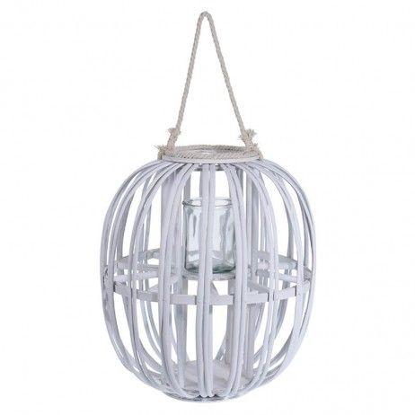 Lanterna Porta-vela Asho de Canha Natural 38 x 43 cm - Castiçais e porta-velas