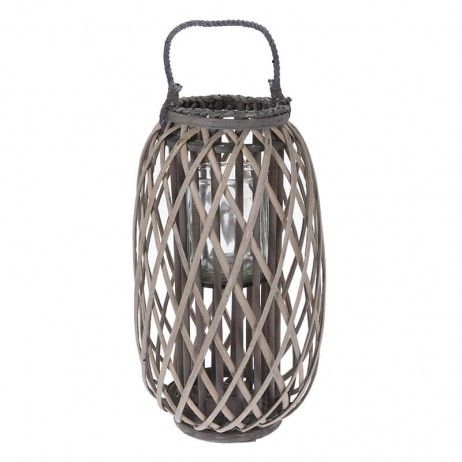 Lanterna Porta-vela Atory de Canha Natural 50 x 28 cm - Castiçais e porta-velas