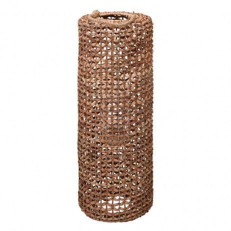 Lanterna Porta-vela Cilin de Canha Natural 28 x 80 cm - Castiçais e porta-velas