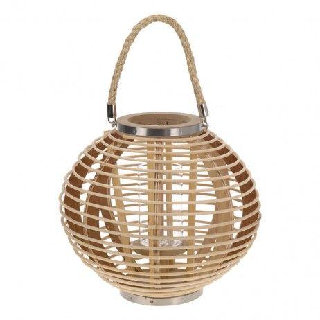 Lanterna Porta-vela Boo de Bambu Natural 24 x 38 cm