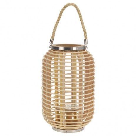 Lanterna Porta-vela Tyty de Bambu Natural 24 x 38 cm