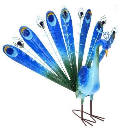 Pavão Blu de Metal 73 x 28 x 62 cm - Figuras decorativas